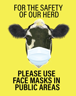 Cow face mask sign